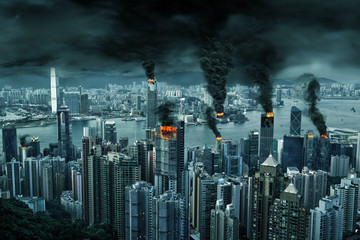 Photo sur Aluminium Hong-Kong Cinematic Portrayal of Hong Kong City in Chaos