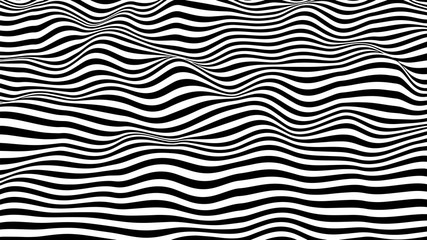 Black and white hallucination. Optical illusion. Twisted illustration. Abstract futuristic background of stripes. Dynamic wave. Vector.
