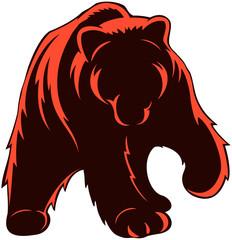 Full-body brown bear, bear logo, vector image.