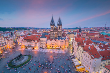 Wall Mural - Old Town square with Tyn Church in Prague, Czech Republic