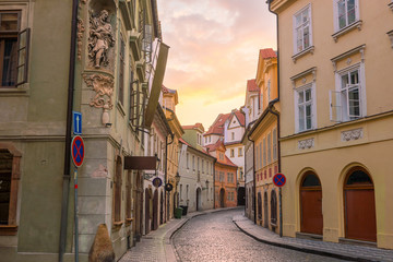Wall Mural - Famous iconic image of  Prague city skyline