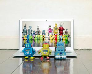 Wall Mural - tree retro bots watching a laptop