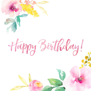 Happy Birthday Background with Floral Elements