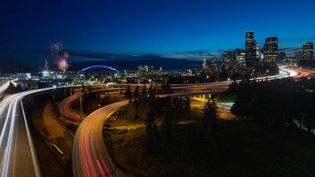 Seattle Skyline Firework at Night Washington