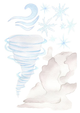 handdrawn watercolor illustration. the weather set. objects describing types of weather.