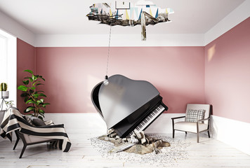 broken ceiling and falling piano