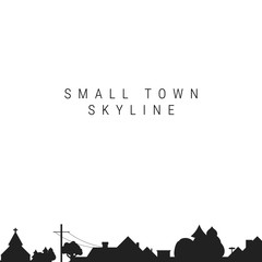 Small Town Skyline Silhouette. Vector Illustration