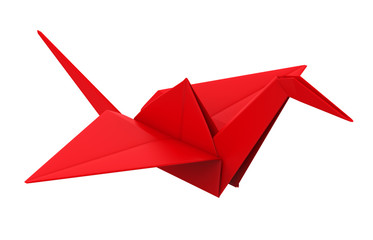 Origami Paper Crane Isolated