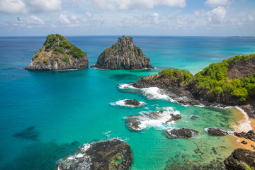 View of Morro dos Dois Irmãos and Baia dos Porcos in Fernando de Noronha, a paradisiac tropical island off the coast of Brazil