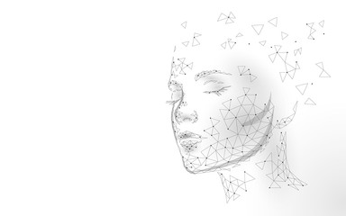 Low poly female human face laser skin treatment. Rejuvenation procedure beauty salon care. Clinic medicine cosmetology innovation technology. 3D polygonal rendering vector illustration