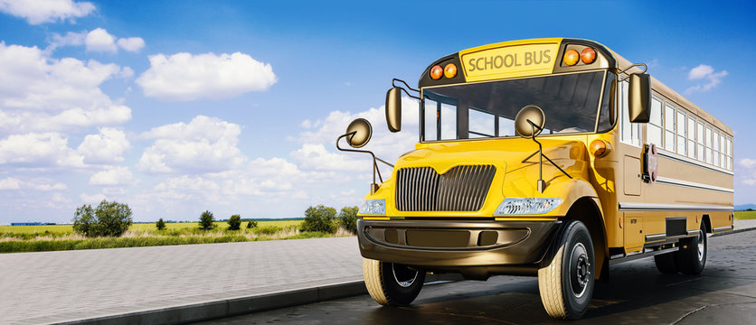 School bus driving on the road, concept of going back to school, beautiful sunny day, 3d rendering