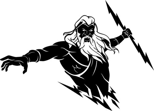 Zeus, Greek God with Thunder Bolt