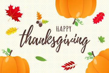 Happy thanksgiving day flat style design poster vector illustration with big pumpkins and autumn leaves. Celebrate holidays!