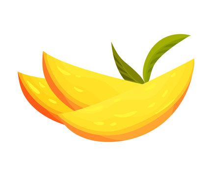 Three yellow mango slices. Vector illustration on white background.