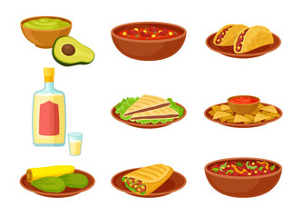 Set of images of mexican dishes. Vector illustration on white background.