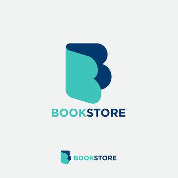 B monogram. Letter B like open book. Online book store. Digital library. Audio book logo. Literature emblem.