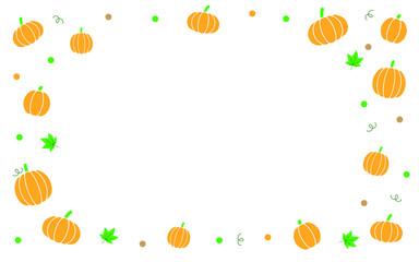 Pumpkin border with autumn maple vine leaves. Flat Style design.