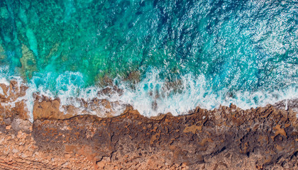 Tropical coral beach, azure water, turquoise sea. Aerial top view Fototapete