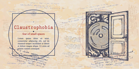 Claustrophobia. Fear of small spaces phobia. Human brain and doors. Psychological vector illustration. Psychotherapy and psychiatry. Medieval medicine manuscript