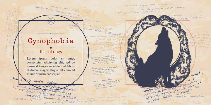 Cynophobia. Fear of dogs phobia. Psychological illustration. Psychotherapy concept. Medieval medicine manuscript