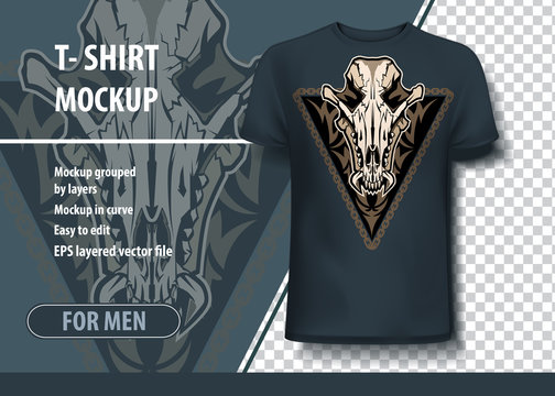Mockup template for print, Jackal skull. Layout vector as an offer printing on T-shirts.