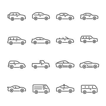 car vector line icons set