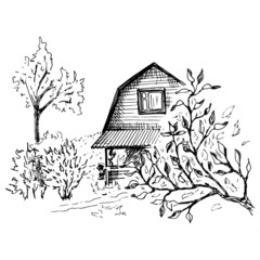 Rural landscape sketch. Hand drawn landscape with village house and trees. Sketch style vector illustration. Isolated on white.