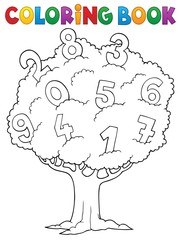 Wall Murals For Kids Coloring book tree with numbers theme 1