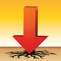 Red arrow. Extreme temperature. Drought. Climatic warming vector illustration.,