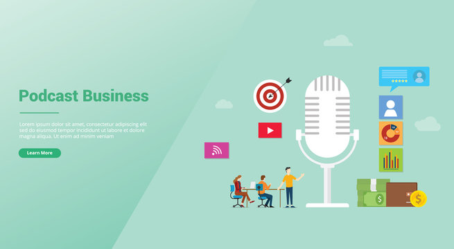 podcast business concept with icon illustration and team people and money for finance with modern flat style for website template or landing homepage - vector