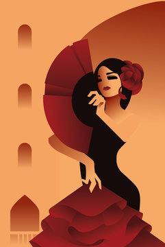 Spanish flamenco dancer posing on city background with fan on city background, hair embellished with rose