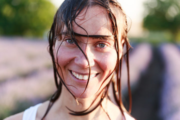 Girl with wet hair