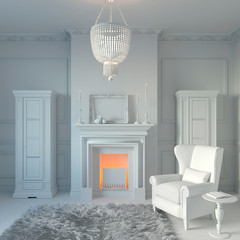 3d illustration. Private cabinet with fireplace and library in white computer stuff