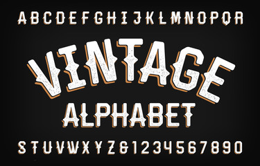 Vintage typeface. Scratched retro letters and numbers in Wild West style. Vector alphabet font for your design.