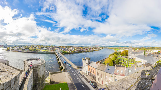 Panoramic view on river Shannon and Thomond bridge from Limerick city wall