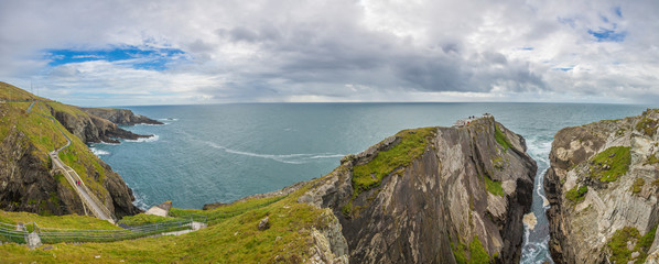 Panorama picture of pedastrian bridge to Mizen Head lighthouse in southern west Ireland