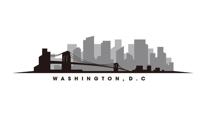 Wall Mural - Washington skyline and landmarks silhouette vector