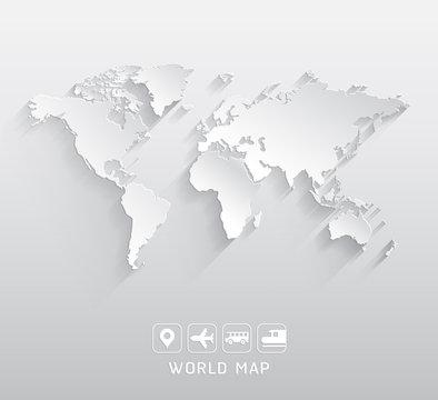 World map vector illustrations.