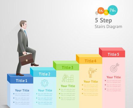5 steps to start business concept. Businessman climbing up stairs to the top.