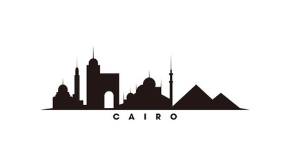 Wall Mural - Cairo Egypt skyline and landmarks silhouette vector