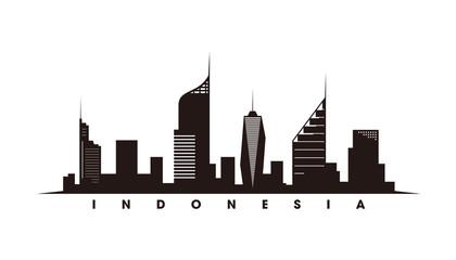 Wall Mural - Jakarta skyline and landmarks silhouette vector