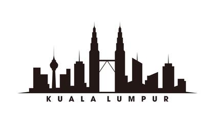 Wall Mural - Kuala Lumpur and landmarks silhouette vector