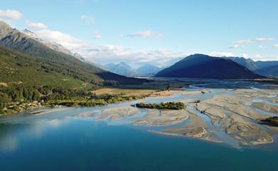 Aerial View Dart River estuary near Glenorchy, New Zealand