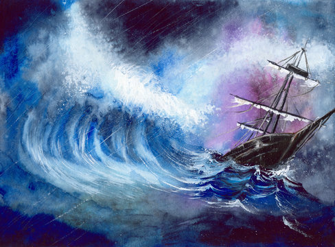 Watercolor illustration of the ship in the storm, gigantic waves, rainy grey clouds and moody atmosphere