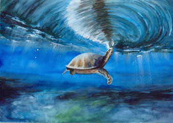 Watercolor picture of a sea turtle  in a blue ocean with sandy floor,  reflection and rays of light