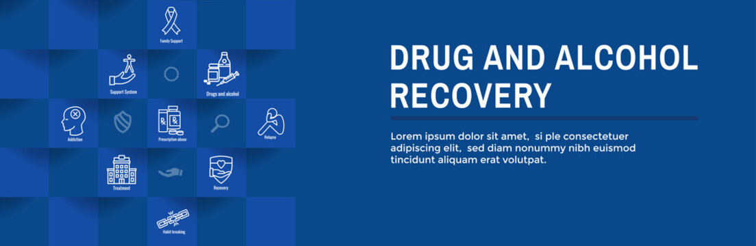 Drug and Alcohol Dependency Icon Set & Web Header Banner