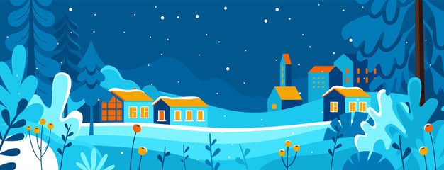 Vector illustration in trendy flat simple style - Merry  Christmas and Happy New Year greeting card and banner - winter landscape with houses Fototapete