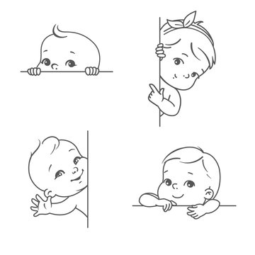 Baby boy and girl with blank frame. Smiling toddler for logotype template. Outline sketch monochrome style. Cute little baby look out, wave hand, pointing finger. Healthy child with plant text bubble.