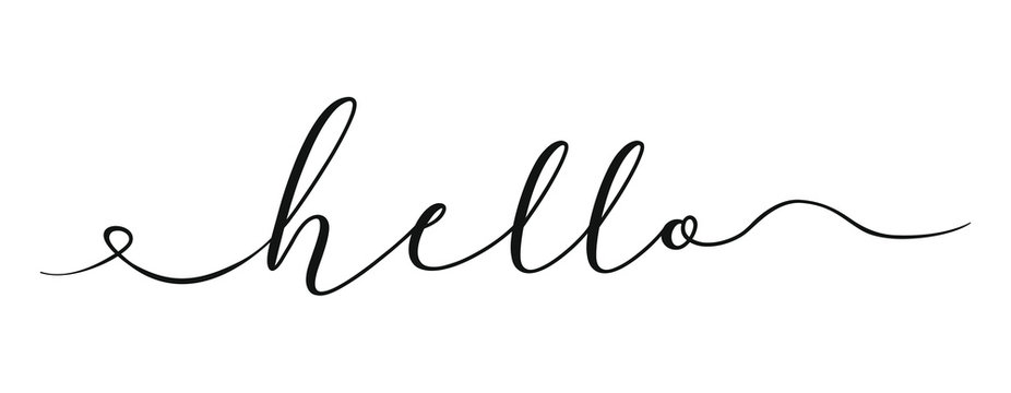 World hello day template black color editable on white background for graphic and web design. Hello in hand drawn style. Hello world. Lettering design concept. White background. Hand lettering.