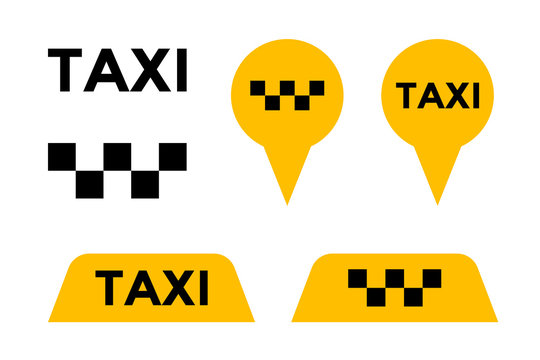 Taxi cab service vector icon set. Yellow signboard and pin signs of passenger city transport markers. Vector illustration